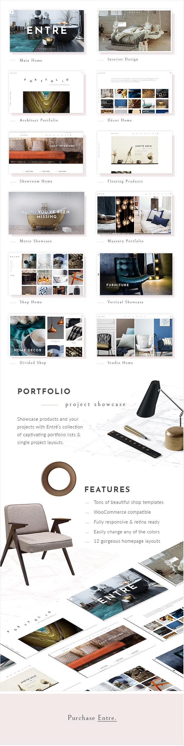 WordPress theme Entré - An Elegant Interior Design and Architecture Theme (Portfolio)